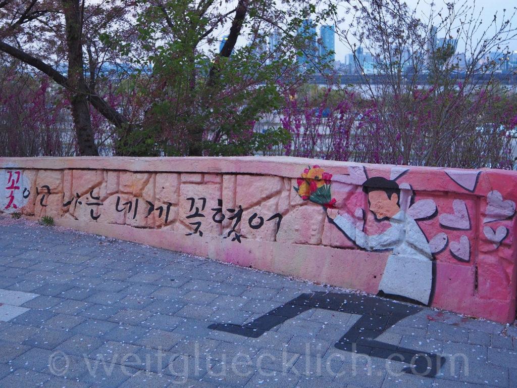Weltreise 2020 Suedkorea Seoul Hangang Park street art