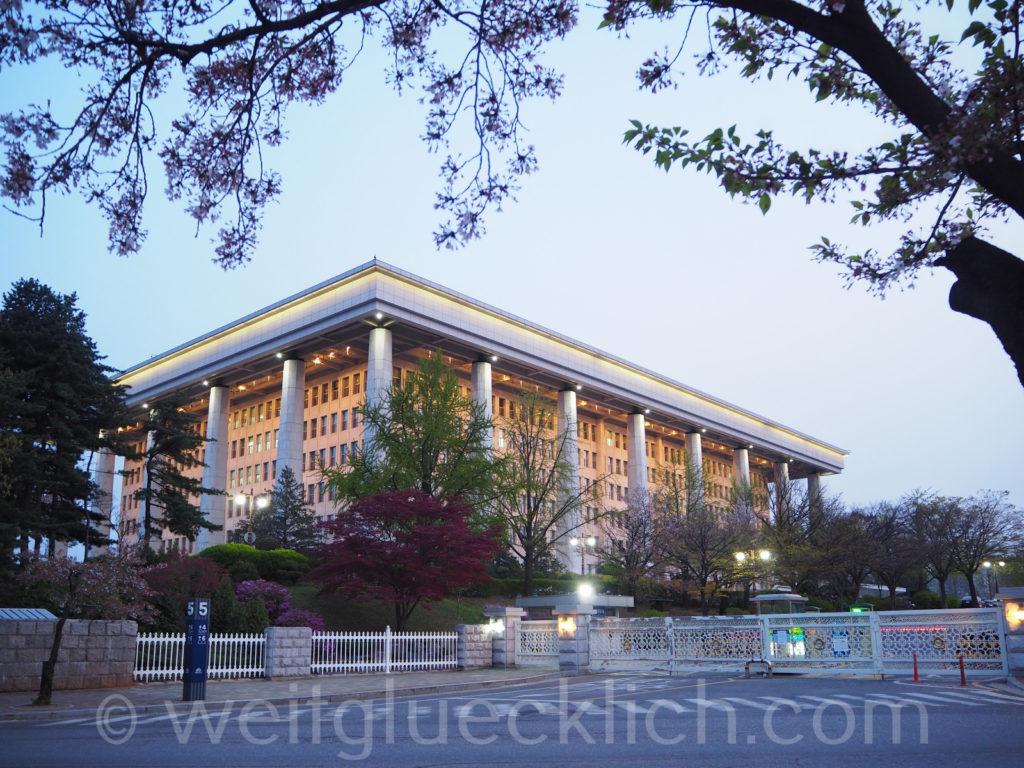 Weltreise 2020 Suedkorea Seoul Hangang Park national assembly Nationalversammlung