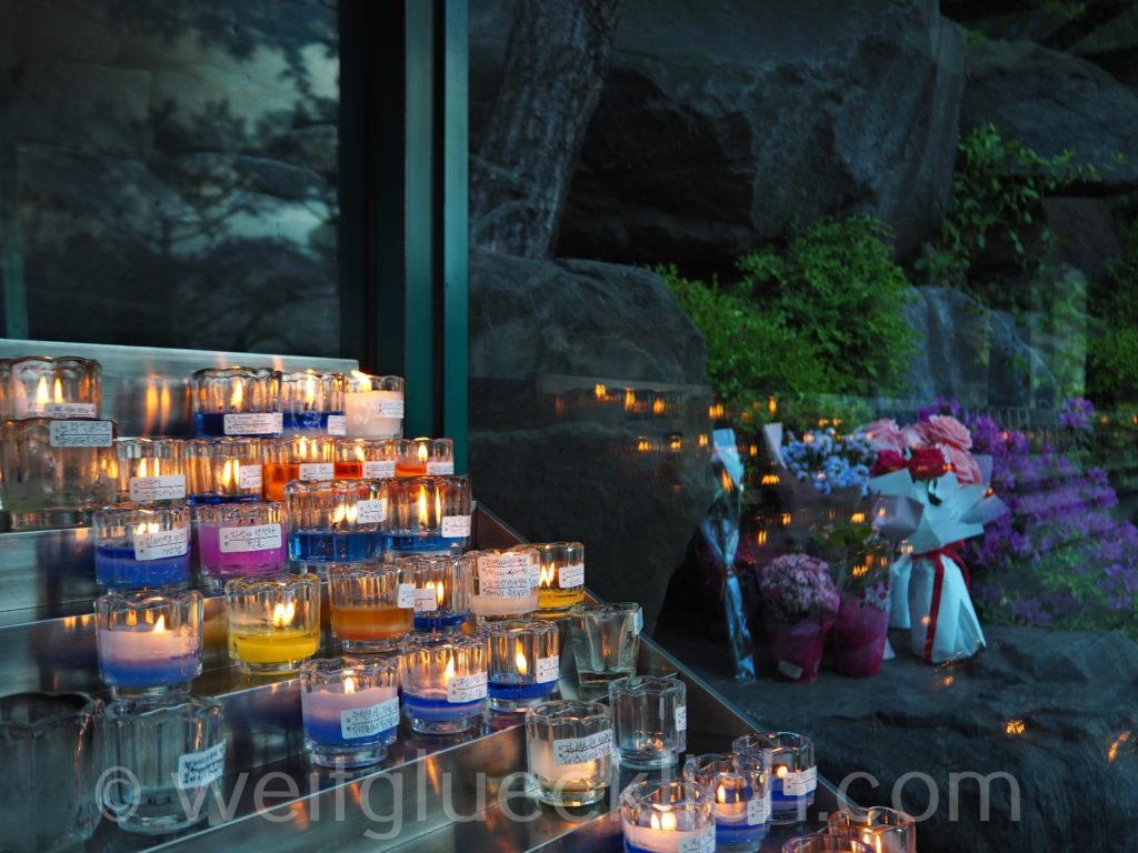 Weltreise 2020 Suedkorea Seoul Mapo-gu Kerzen Jeoldusan Martyrs' Shrine