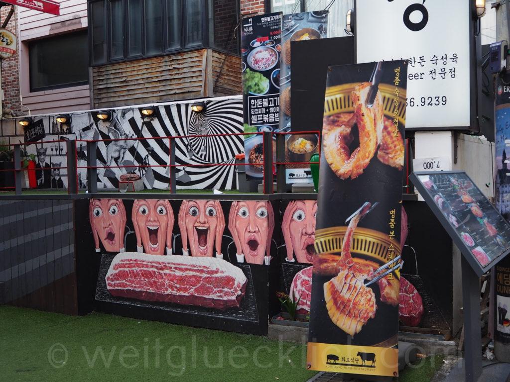 Weltreise 2020 Suedkorea Seoul Hongdae Hapjeong korean BBQ barbecue