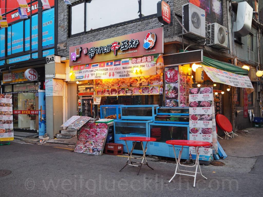 Weltreise 2020 Suedkorea Seoul Gwanghuidong Central Asia Street korean seafood live octopus