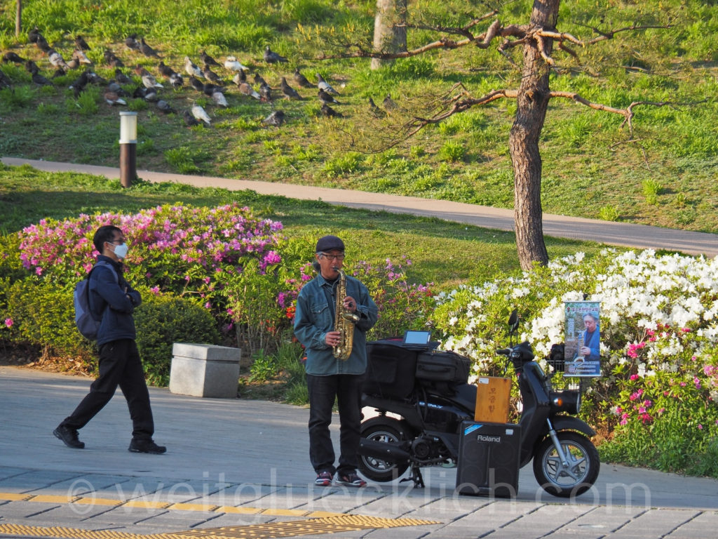 Weltreise 2020 Suedkorea Seoul Dongdaemun Seonggwak Park Live Musik