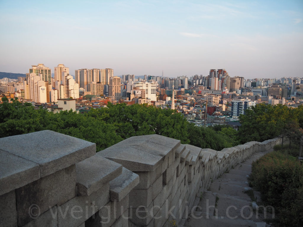 Weltreise 2020 Suedkorea Seoul Dongdaemun Naksan Mountain Aussicht Stadtmauer