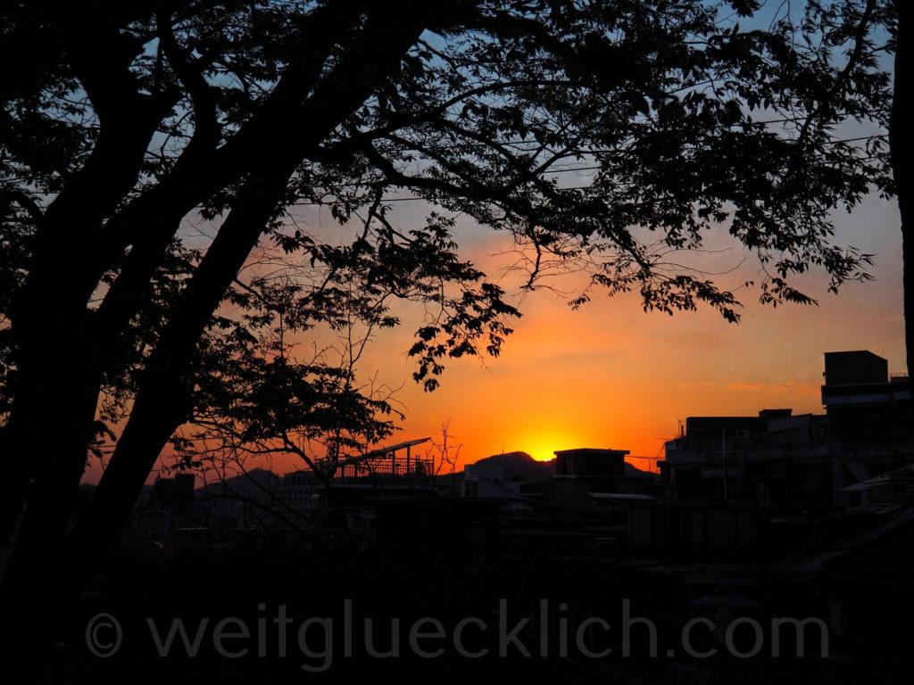 Weltreise 2020 Suedkorea Seoul Dongdaemun Naksan Mountain Sonnenuntergang