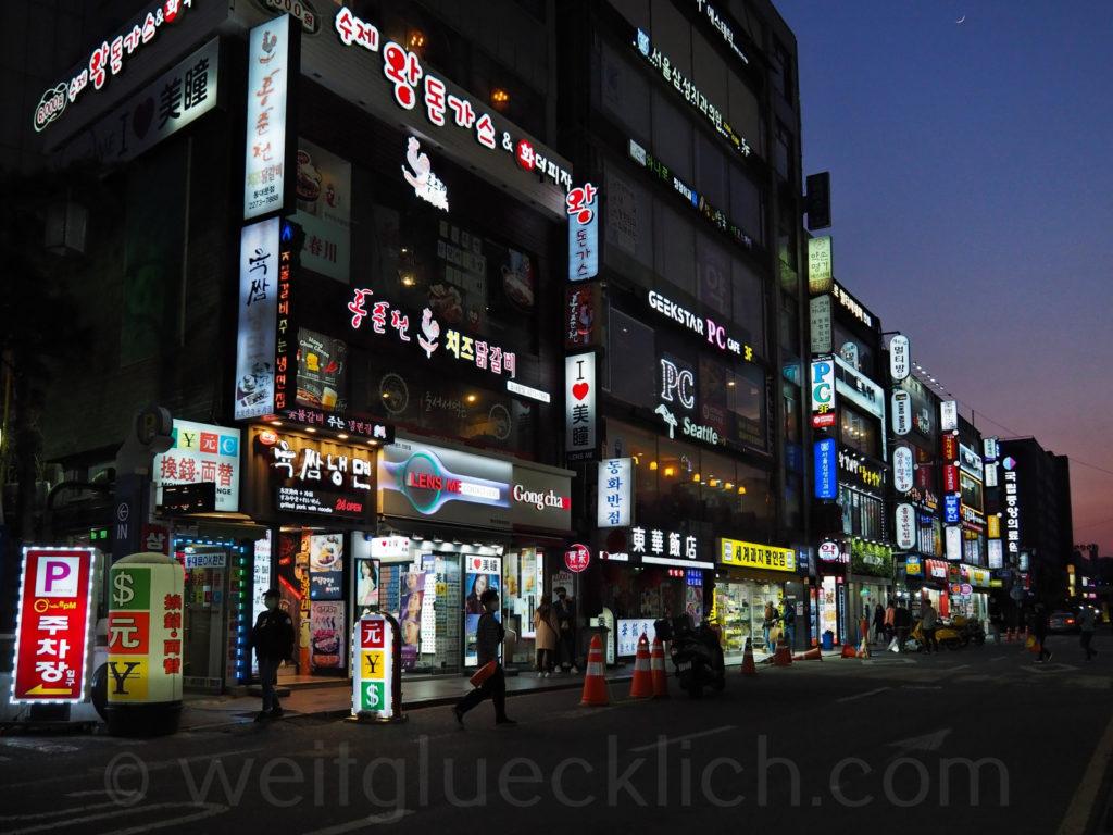 Weltreise 2020 Suedkorea Seoul Dongdaemun Market Lichter Nacht
