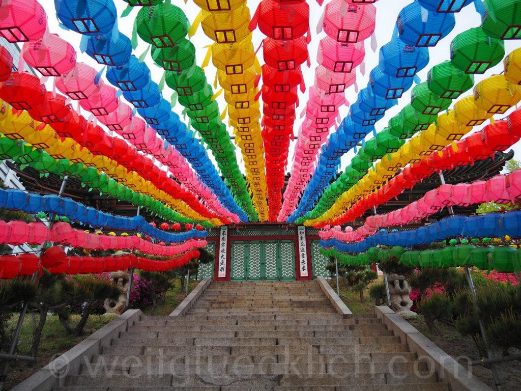 Weltreise 2020 Suedkorea Seoul Dongdaemun Jeonggakwan Tempel Laternen