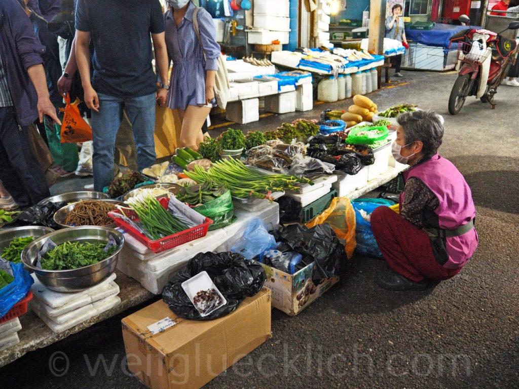 Weltreise 2020 Suedkorea Seoul Gwangjang Market Gemuese Kimchi