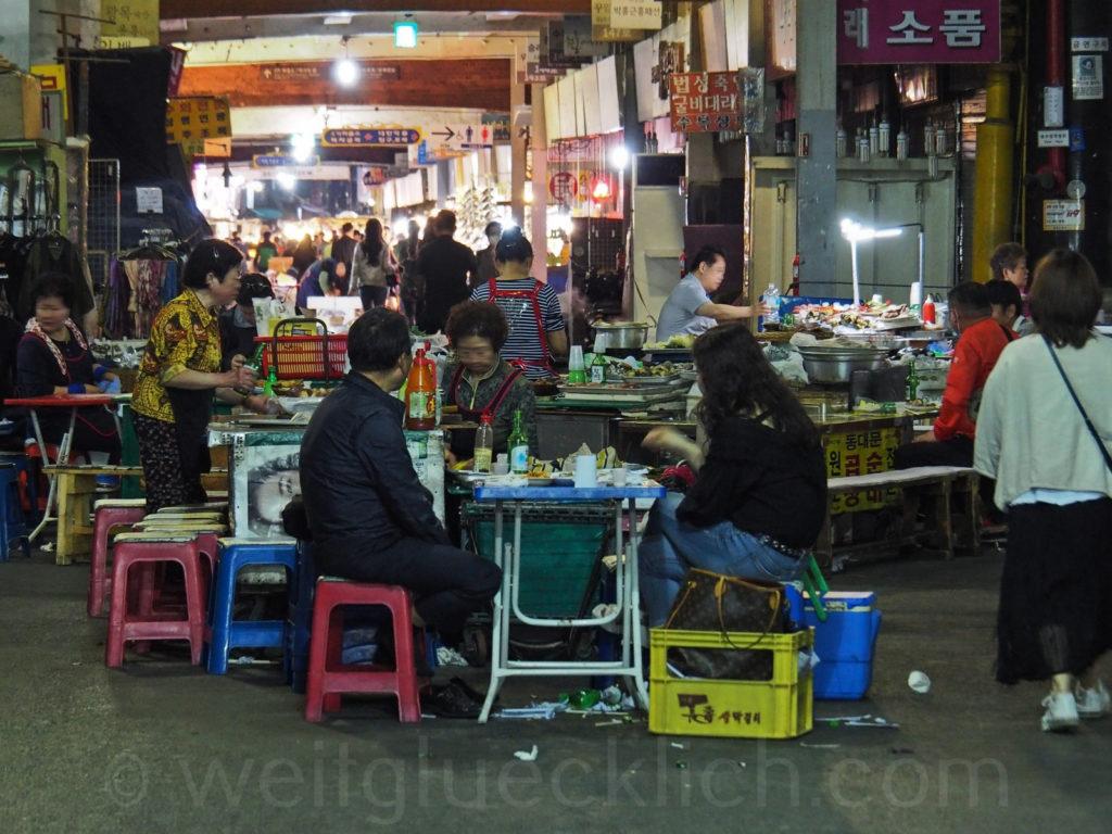 Weltreise 2020 Suedkorea Seoul Gwangjang Market street food night market