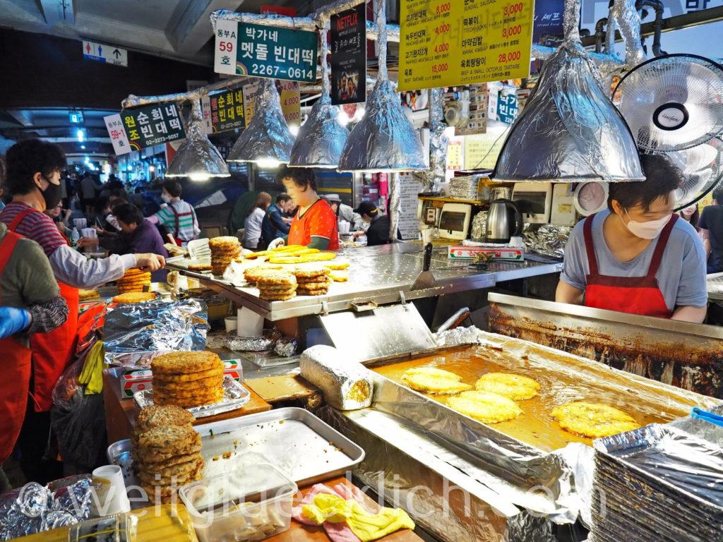 Weltreise 2020 Suedkorea Seoul Gwangjang Market street food mung bean pancake bindae-tteok