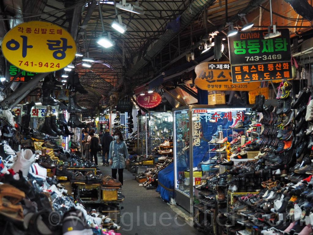 Weltreise 2020 Suedkorea Seoul Dongdaemun Market Schuhe