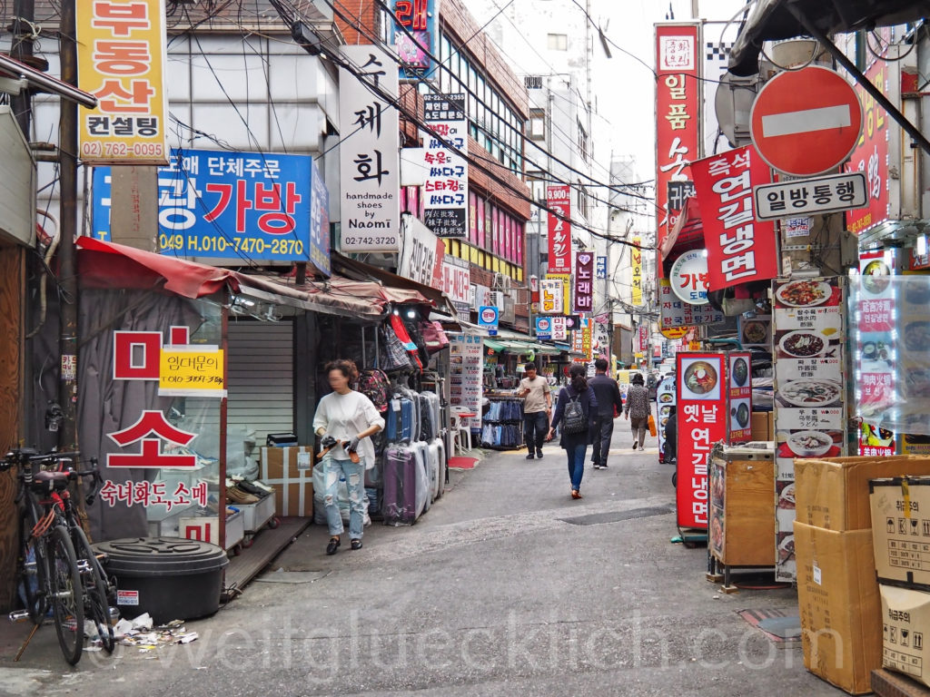 Weltreise 2020 Suedkorea Seoul Dongdaemun Market Schuhe Essen