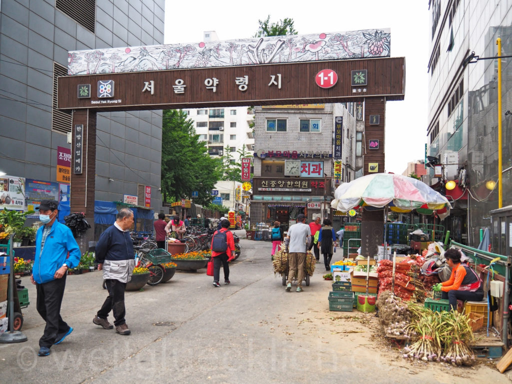 Weltreise 2020 Suedkorea Seoul Yangjegeongang Medizinmarkt Gyeongdong Market Entrance