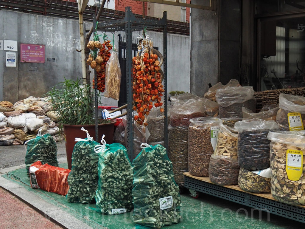 Weltreise 2020 Suedkorea Seoul Yangjegeongang Medizinmarkt Gyeongdong Market Shop