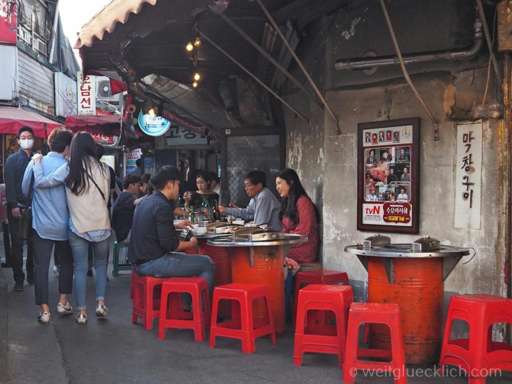 Weltreise 2020 Suedkorea Seoul Sightseeing Ikseon-dong Hanok Village koreanisches BBQ