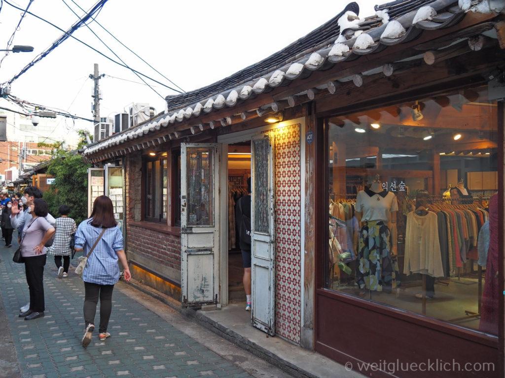 Weltreise 2020 Suedkorea Seoul Sightseeing Ikseon-dong Hanok Village shopping