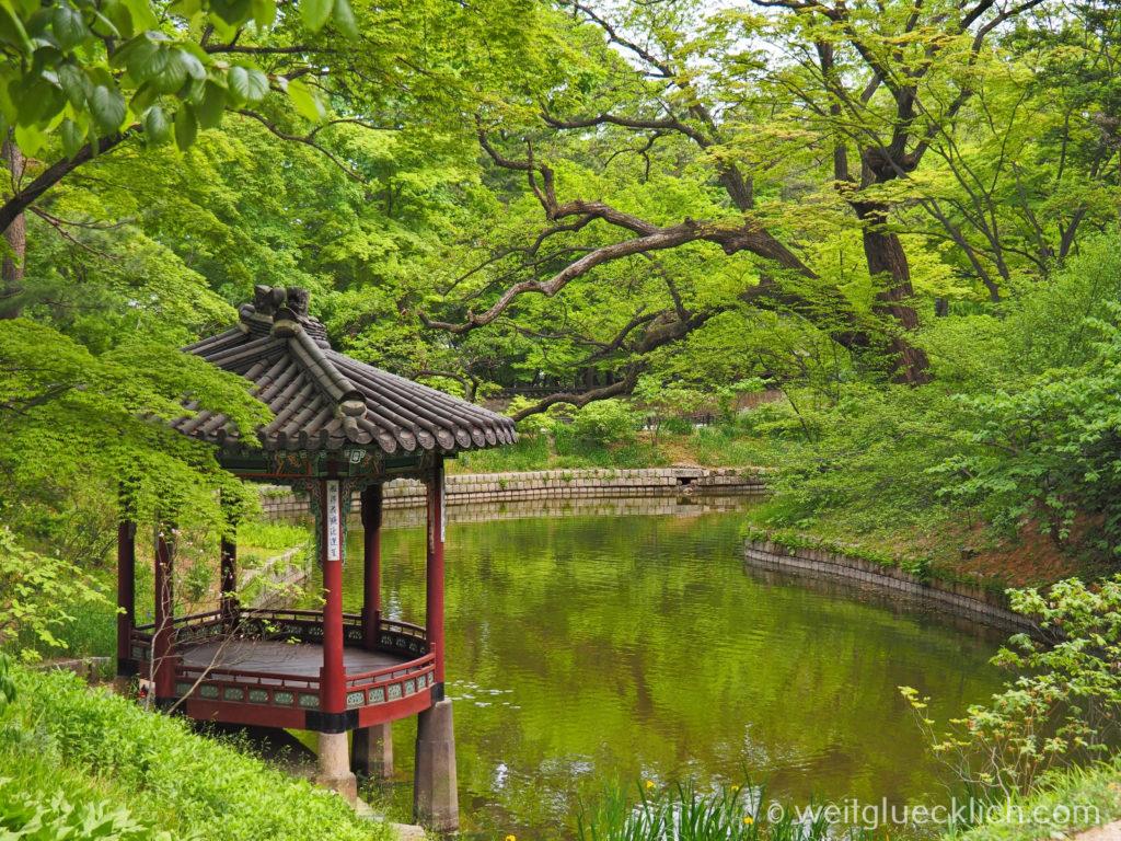 Weltreise 2020 Suedkorea Seoul Sightseeing Changdeokgung Palast Pavillon geheimer Garten