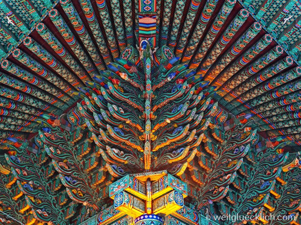 Weltreise 2020 Suedkorea Seoul Sightseeing Jogyesa Tempel Dachkonstruktion Detail