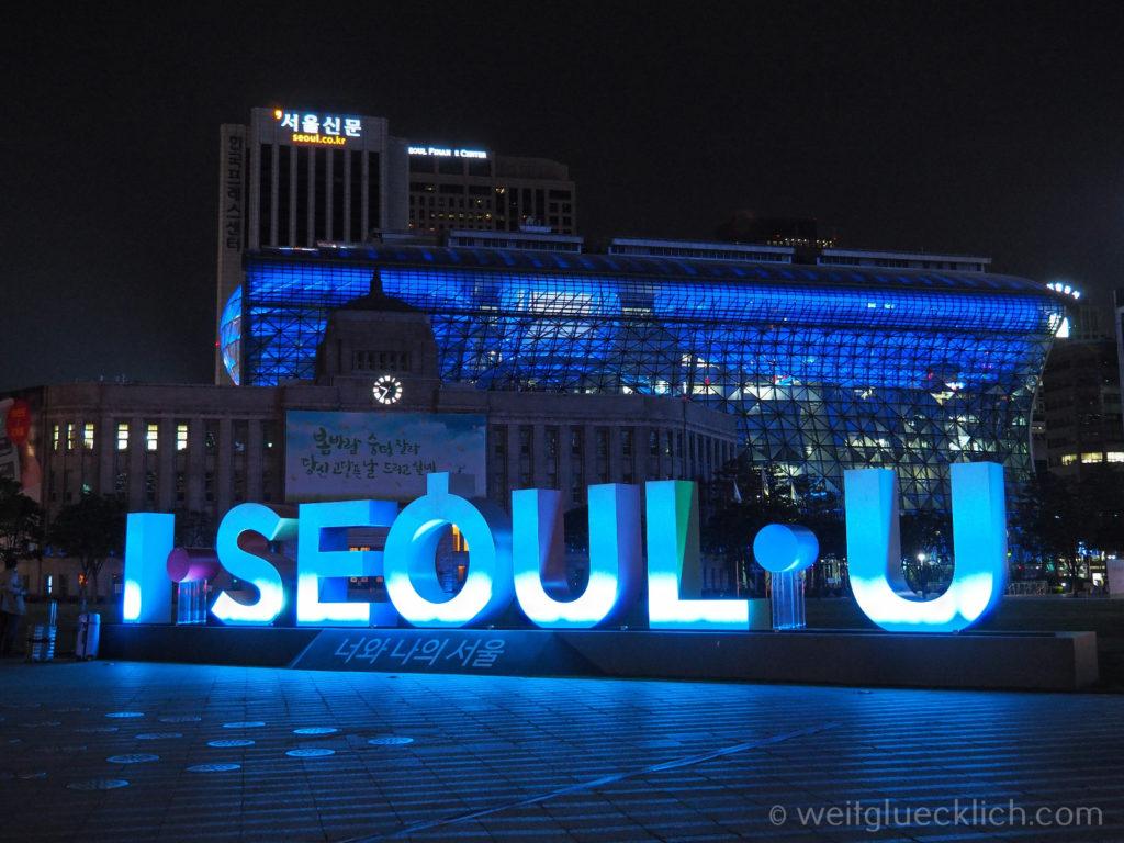 Weltreise 2020 Suedkorea Seoul Sightseeing Cheonggyecheon I Seoul U blaues Rathaus