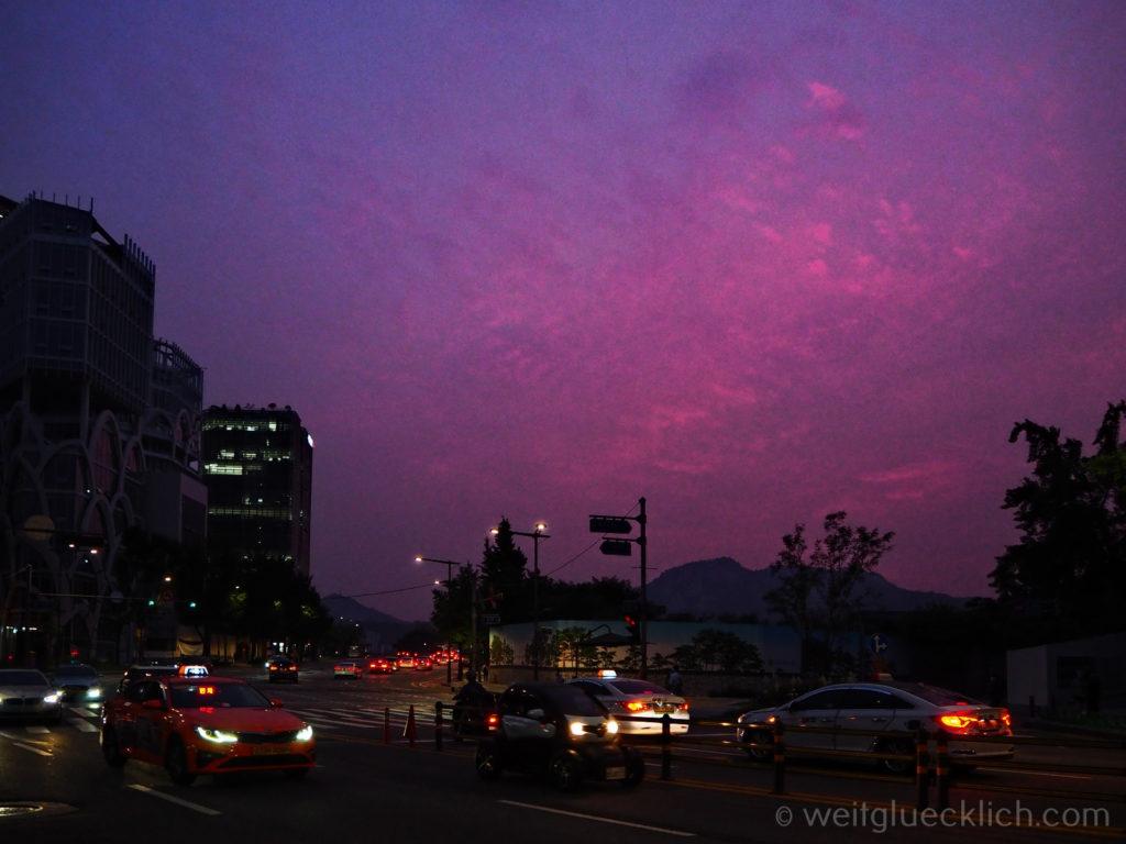 Weltreise 2020 Suedkorea Seoul Zentrum Sonnenuntergang