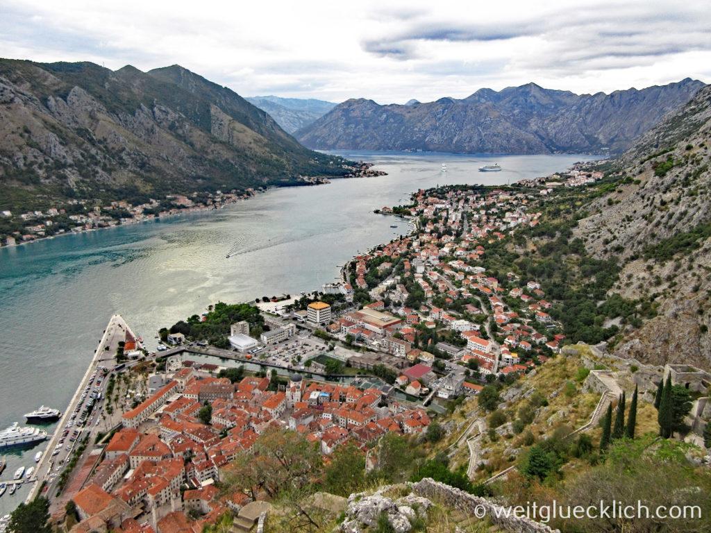 Montenegro Kotor Festung San Giovanni Aussicht Fjord