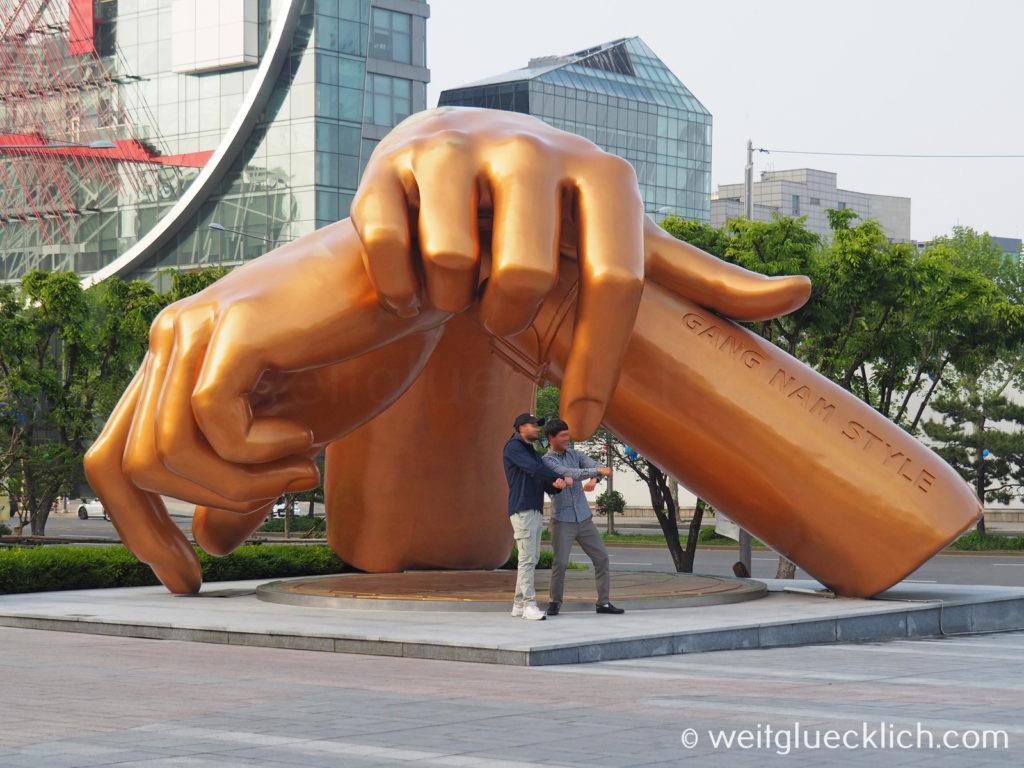 Weltreise 2020 Suedkorea Seoul Gangnam-gu COEX Mall Gangnam Style Skulptur