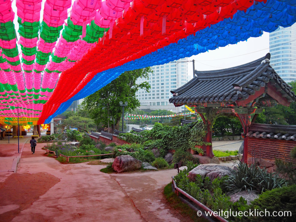 Weltreise 2020 Suedkorea Seoul Gangnam-gu Bongeunsa Tempel Eingang